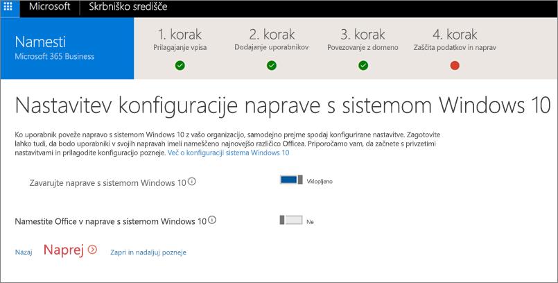 Posnetek zaslona strani »Priprava naprav s sistemom Windows 10«