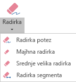 V PowerPointu za Office 365 so na voljo štiri radirke za digitalni rokopis.