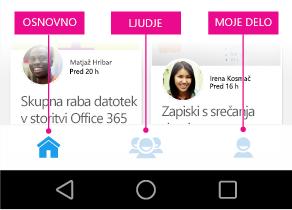 Glavni meni orodja Delve za naprave s sistemom Android