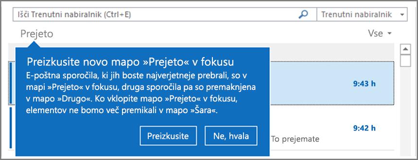 Slika podobe mape »Prejeto« v fokusu, ko je dana na voljo uporabnikom in je Outlook znova odprt.