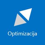 Posnetek zaslona s ploščico, ki prikazuje besedo »Optimiziranje«
