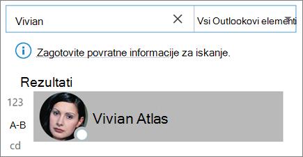 Iskanje stikov s funkcijo iskanja v Outlooku