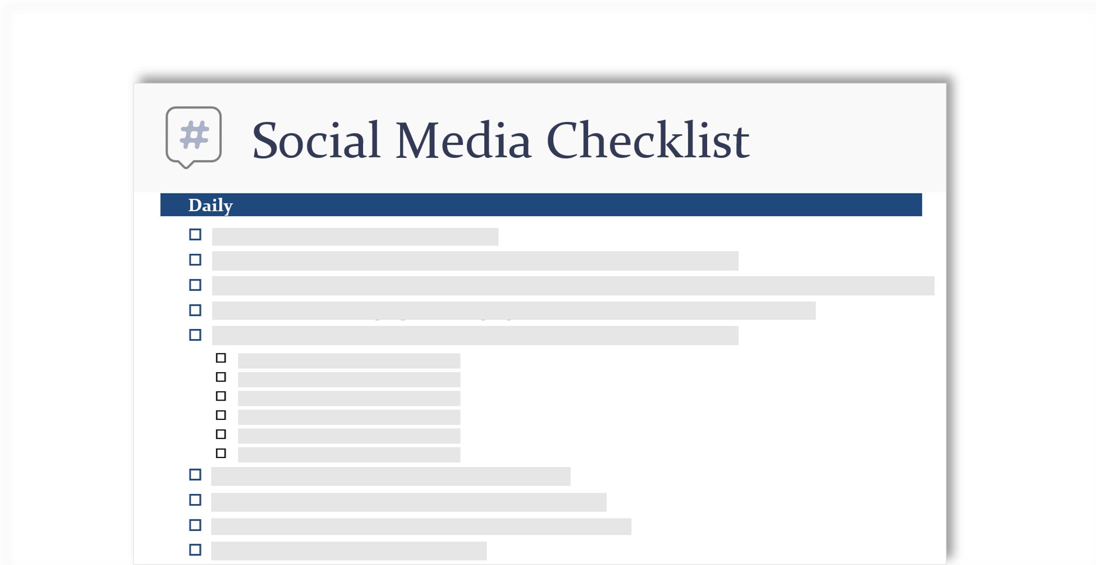 konceptualna slika družabnih storitev kontrolnega seznama