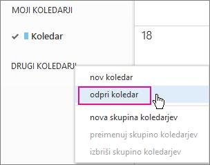 Outlook Web App – odpri meni koledarja