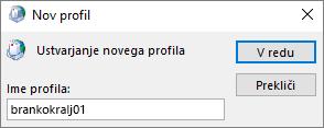 Nastavljanje novega Outlookovega poštnega profila za osebo jozicazupanc
