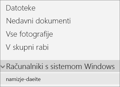 Podokno za krmarjenje na levi strani v storitvi OneDrive, ki prikazuje razširjeni meni z računalniki s sistemom Windows