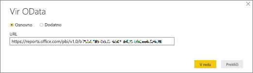 URL podatkov OData za Power BI Desktop