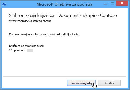 Izberite gumb »Sinhroniziraj zdaj«, da začnete sinhronizirati datoteke na mestu skupine z namiznim računalnikom.
