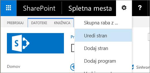 Spustni seznam menija »Nastavitve« v programu SharePoint 2016