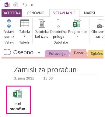 Vstavljanje obstoječe Excelove datoteke