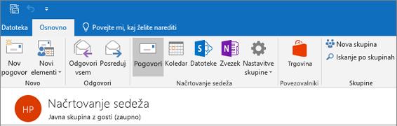 To je tisto, kar v glavi skupine videti v programu Outlook 2016