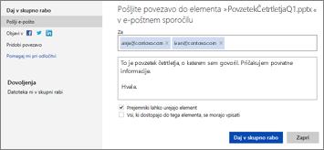 Pošiljanje povezave do predstavitve po e-pošti