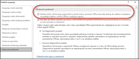 Možnosti zasebnosti pogovorno okno prikazuje, kam želite omogočiti ali onemogočiti storitvami v oblaku za Office.