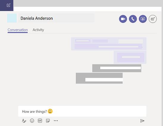 1:1 chat v aplikaciji teams.