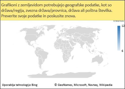 Excelov grafikon z zemljevidom z dvoumnimi podatki