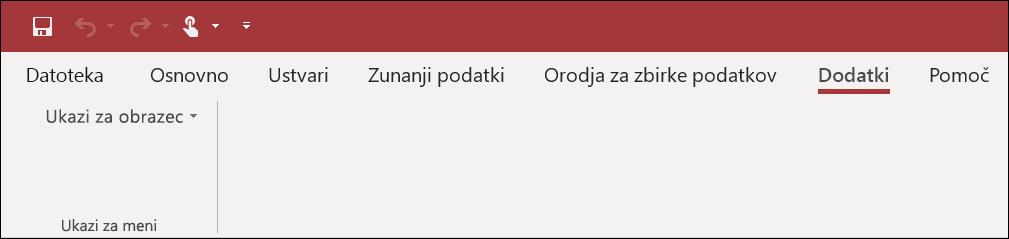 Posnetek zaslona traku» dodatki «v Accessu