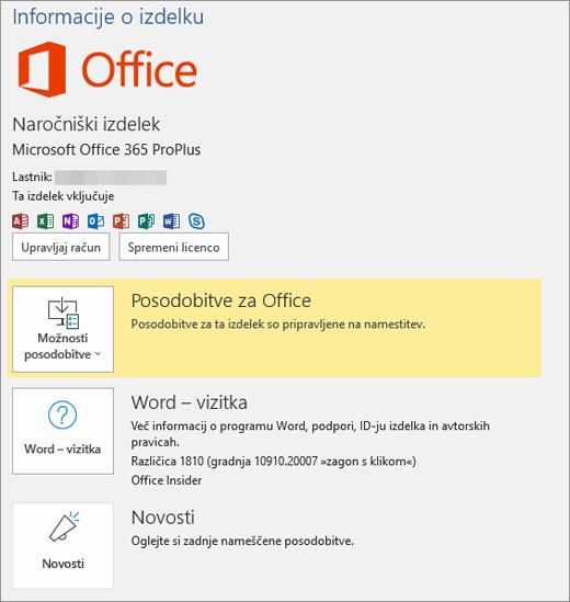 Pokaže pogled» Backstage« storitve Office 365