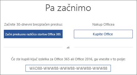 Prikazuje zaslon »Začnimo«, ki označuje, da je v tej napravi na voljo preskusna različica storitve Office 365.