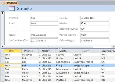 Razdeljeni obrazec v Accessovi namizni zbirki podatkov