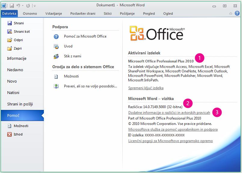 Možnost »Informacije o izdelku«, ko kliknete »Datoteka« > »Pomoč« v programu Word 2010