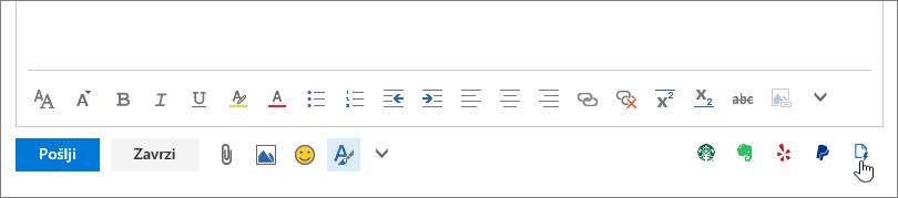 Posnetek zaslona spodnjega območja e-poštnega sporočila pod območjem telesa, pri čemer kazalec kaže na ikono »Moje predloge«, ki je skrajno desno.