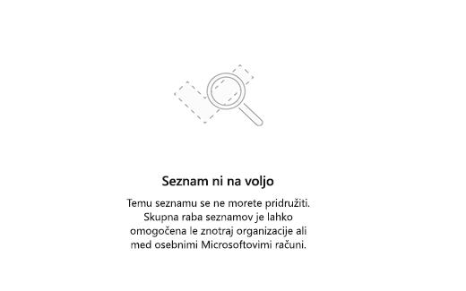 Posnetek zaslona, ki prikazuje sporočilo o napaki seznam ni na voljo