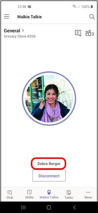 Ime in fotografija sodelavca, ki je v pogovoru prikazan na zaslonu