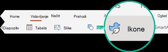 Gumb» ikone «na zavihku» Vstavljanje «v PowerPointu za splet.