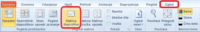 Zavihek »Pogled« v PowerPointu, kjer lahko preklopite na pogled matrice diapozitiva