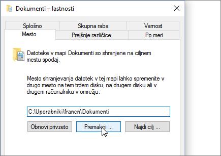 Posnetek zaslona, ki kaže meni z lastnostmi dokumentov v Raziskovalcu.