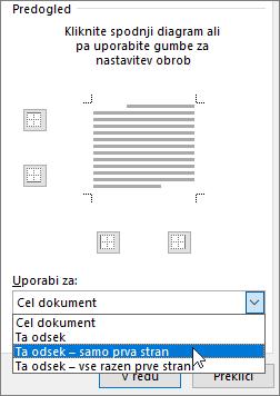Pokaže možnosti »Uporabi za« v pogovornem oknu »Obrobe in senčenje«