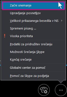 Med srečanjem v Skypu za podjetja kliknite »Začni snemati«