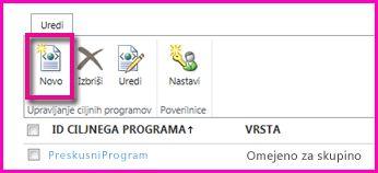 Posnetek zaslona strani skrbniškega središča za SharePoint Online za konfiguracijo ciljnega programa SecureStore.