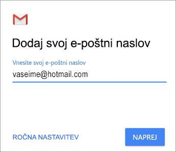 Dodajte svoj e-poštni naslov