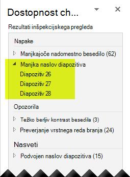 Preverjevalnik dostopnosti poroča o tem, ali v predstavitvi manjkajo naslovi diapozitivov.