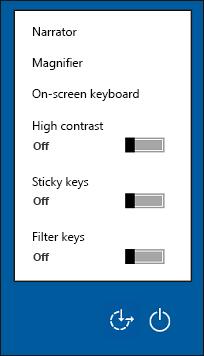 Možnost središča za dostopnost na zaslonu za vpis