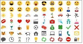 Čustveni simboli, ki so na voljo v programu Lync 2013