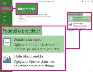 Meni »Informacije o projektu« z označenimi dodatnimi lastnostmi