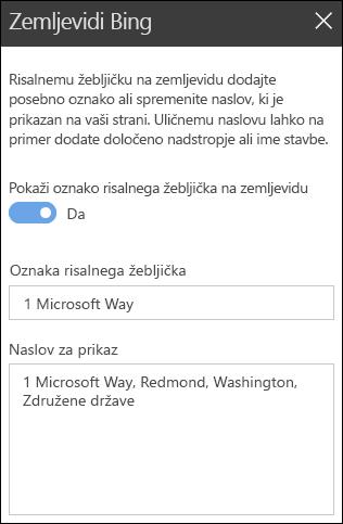 Orodjarna spletnih gradnikov v storitvi zemljevidi Bing