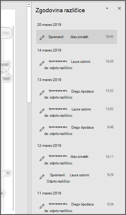 Podokno» Zgodovina različic «v storitvi Office, ki prikazuje več preteklih različic datoteke