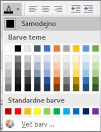 Meni za barvo pisave v Excelu za namizne računalnike s sistemom Windows.