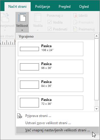 Posnetek zaslona možnosti za več vnaprej nastavljenih velikosti strani na zavihku »Načrt strani« v programu Publisher.