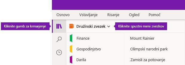 Razširitev seznamu zvezkov v OneNotu za Windows 10