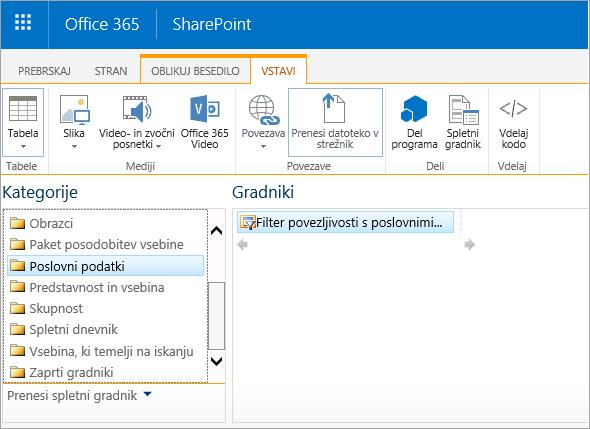 Spletni gradnik Excelovega spletnega dostopa ni v kategoriji poslovnih podatkov