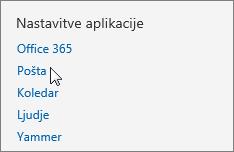 Posnetek zaslona razdelka »Nastavitve aplikacij« v oknu »Nastavitve« v aplikaciji Outlook Web App s kazalcem, ki kaže na možnost »Pošta«.