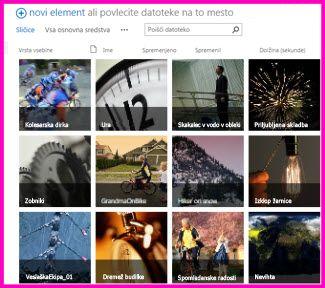 Posnetek zaslona knjižnice sredstev v SharePointu. Prikazane so sličice več videoposnetkov in slik, ki jih knjižnica vsebuje. Prikazani so tudi standardni stolpci z metapodatki za predstavnostna sredstva.