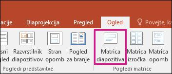 prikaže gumb matrice diapozitiva na traku v PowerPointu