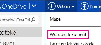 Ustvarjanje Wordovega dokumenta s storitvijo OneDrive