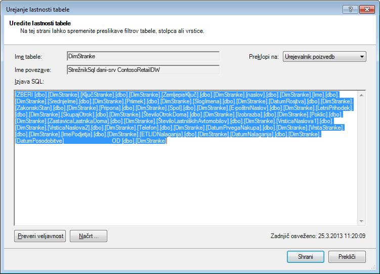 Poizvedba SQL, s katero so pridobljeni podatki
