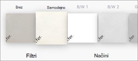 Možnosti filtra za skeniranje slik v OneDrive za iOS